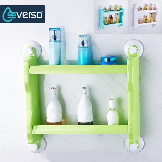 Everso 2 Layer Bathroom Shelf Strong Suction Cup Rack Organizer Storage Shower Wall