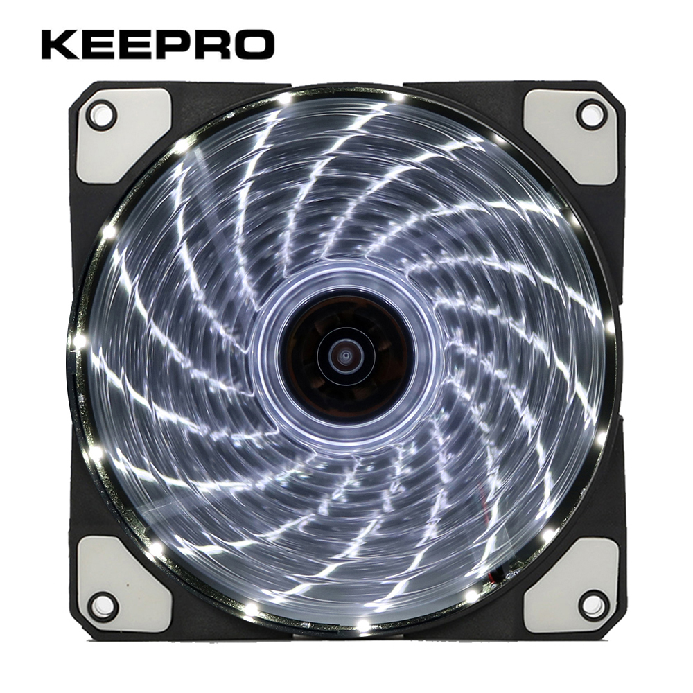 KEEPRO Original 15 Lights LED Cooling Silent Fan PC Computer Chassis Fan Case Heatsink Cooler DC 12V 4P 3P 120mm sleeve bearing 120mm case fan heatsink cooler cooling for pc computer radiators 12cm fan power by 12vdc 3pin ide molex 4pin