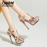 ISNOM Platform Gladiator Sandals Women Thin High Heels Sandals Cow Leather Shoes Female Summer Strappy Party Shoes Ladies 2019