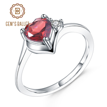 GEMS BALLET 0.84Ct Natural Garnet January Birthstone Ring 925 Sterling Silver Heart Ring For Women Valentines Day Gift Jewelry