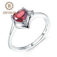 GEMS balet 0.84Ct naturalny granat styczeń pierścień z kamieniem związanym z datą urodzin 925 srebro pierścień z sercem dla kobiet prezent na walentynki biżuteria