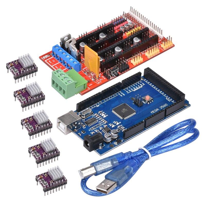 1PC Mega 2560 R3 Motherboard + 1PC RAMPS 1.4 Control Board+ 5PCS DRV8825 Stepper Motor Driver For Reprap 3D Printer Parts1PC Mega 2560 R3 Motherboard + 1PC RAMPS 1.4 Control Board+ 5PCS DRV8825 Stepper Motor Driver For Reprap 3D Printer Parts