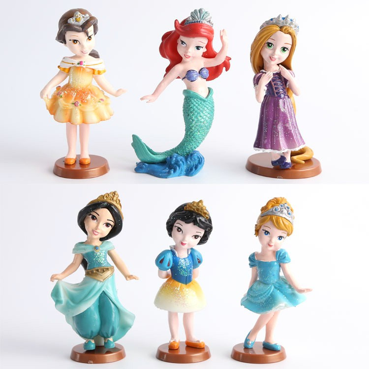 6pcs Set Disney Toys For Kids Classic Dolls Anime Princess Mermaid