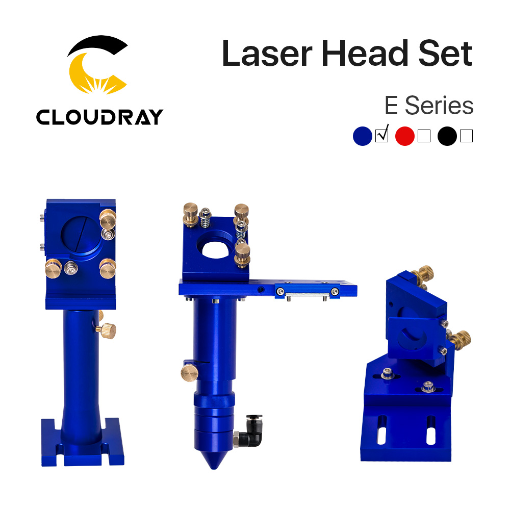 E Series: CO2 Laser Head Set For Laser Cutting Engraving Machine Blue Red Black Colors Optional