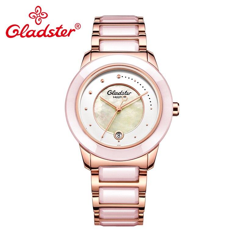 Gladster 2018 New luxury Brand Unique Dial Design Ladies Watch Ceramic Strap Women Watch 50m Waterproof Quartz Female Wristwatch