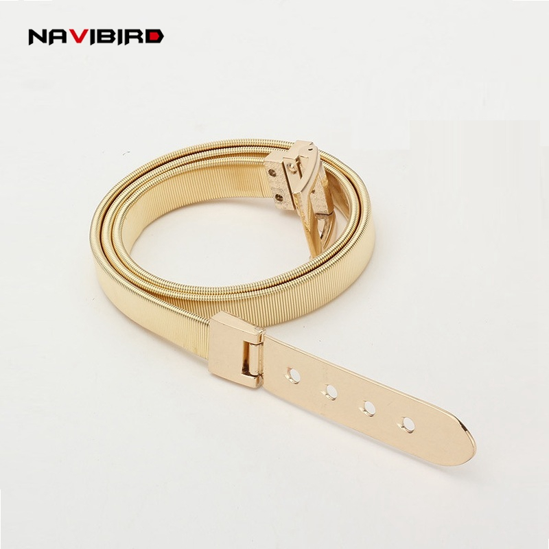 Women'S Luxury   Belt   Gold Silvery Solid Metal Buckle Elastic   Belts   For Woman Girl Stretch Skinny Waist Cummerbunds