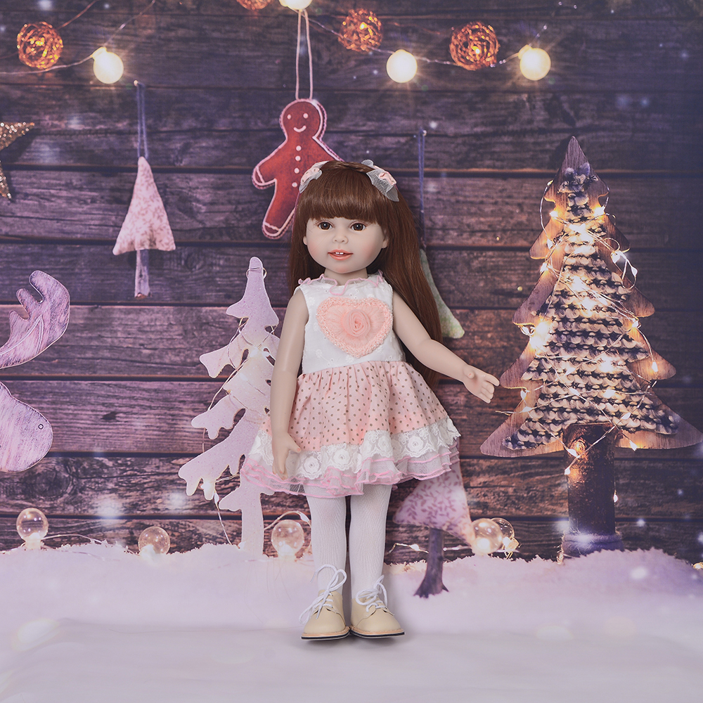 Fashion 18 Inch American Lovely Baby Doll Full Vinyl Silicone 45cm Realistic Reborn Boneca Smiling Face Girl Toy For Child Gifts