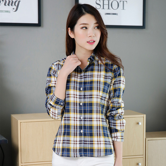 2016 Fashion Brand New Women Blouses Long Sleeve Plaid Shirts Women Casual Cotton College Style Blusas Tladies Plus Size Shirt