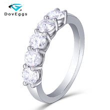 DovEggs Sterling Solid 925 Silver 1.25CTW HI Color  Moissanite Diamond Wedding Bands For Women Engagement Ring
