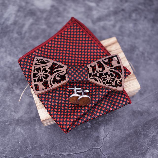 Set de Pajarita de Madera con Pañuelo y Gemelos