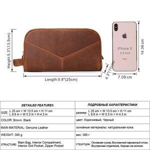 Image 2 - Trousse de toilette en cuir véritable vintage en cuir véritable pour hommes, sac de maquillage de voyage, sac de toilette à main