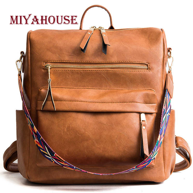 0beead9080 Miyahouse Fashion PU Leather Solid Backpacks Female Large Capacity  Multifunctional Travel Bags Teenage Girls Shoulder Schoolbags