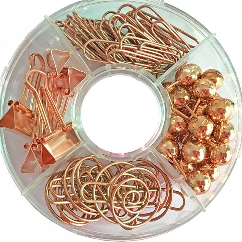 TUTU Free shipping Binder clips push pins gold and rose gold stationery combination set pushpin clip H0007 kitswi3747308unv10200 value kit swingline selfseal clear laminating sheets swi3747308 and universal small binder clips unv10200