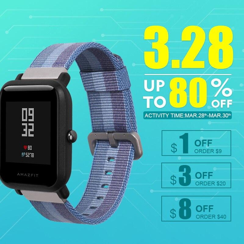 SIKAI 20mm Sportuhr Ersatz Nylon Armband Für Xiaomi Huami Amazfit Smartwatch Für Xiaomi Amazfit Armbänder