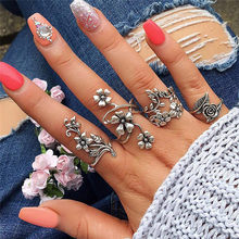 2019 New Arrival Fashion Natural Fire Opal Ring Wedding Retro Jewelry Rings for women Ring Set J13#N(China)