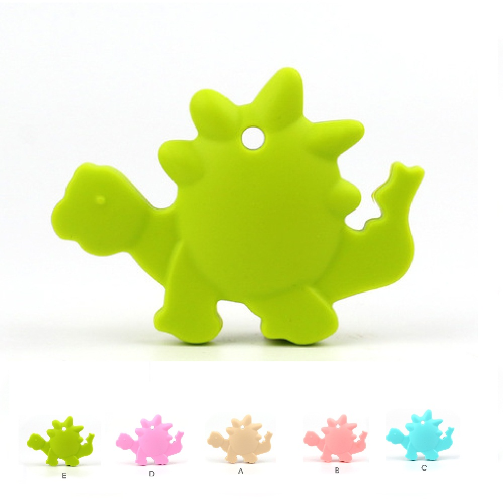 TYRY.HU Dinosaur Shaped Silicone Pendant BPA Free Food Grade Silicone Teether For Necklace Making Baby Teething Chewable Toys tyry hu 1pc christmas tree shaped baby girl silicone teether rodents beads teething transducer pendant necklace food silicone