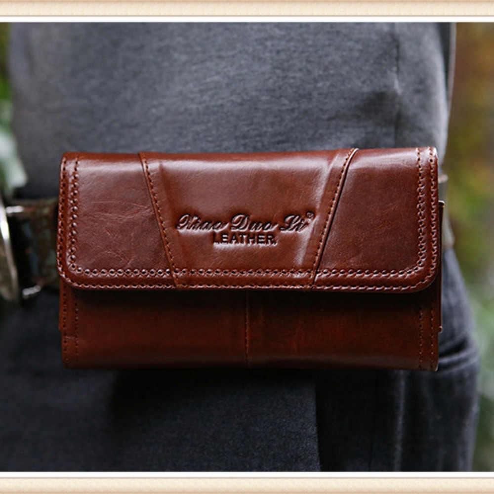 ヒップボムベルトマネーパック財布携帯/携帯電話ケースカバーポケットポーチヴィンテージ男性牛革本革ファニーウエストフックバッグ