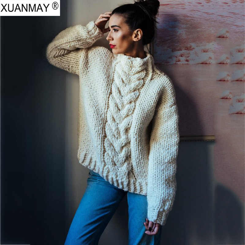 Women's Sweater custom made Hand knit Sweater 5XL Large size Creamy-white Sweater 2019 New Thick Woman Chunky sweater
