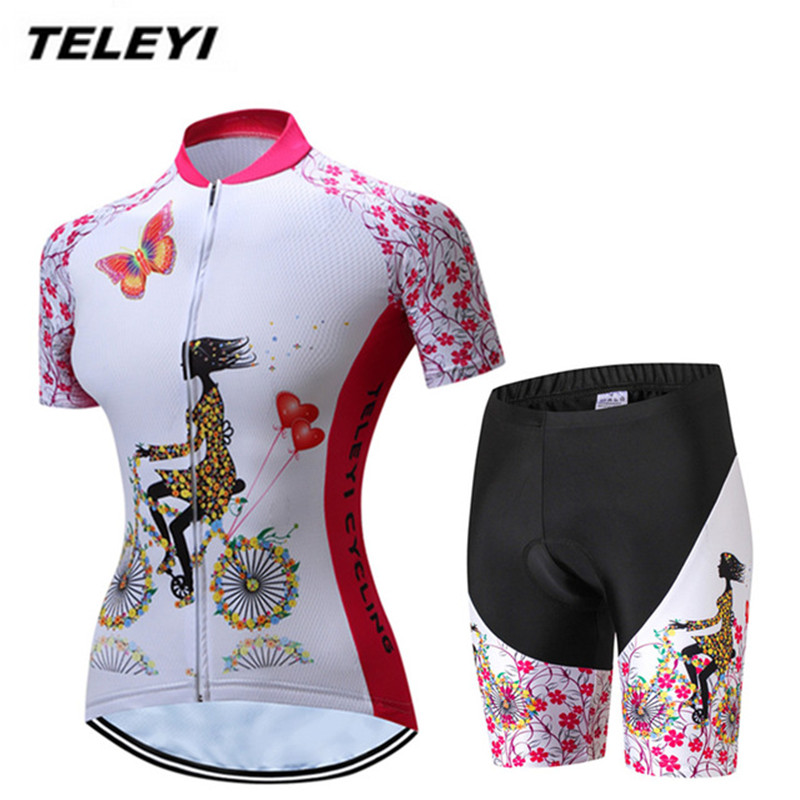 TELEYI 2017 Pink MTB Bike Jersey Shorts Set Women Cycling Clothing Pro Jersey Short Girls bicycle Top Bottom Shirt Breathable