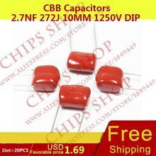 1 лот = 20 шт. CBB Конденсаторы 2.7nf 272j 10 мм 1250 В DIP 2700pf