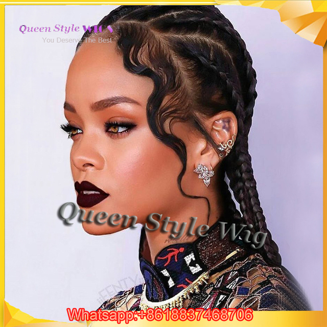 Celebrity Rihanna 6 Braids Form Dutch Braids Full Lace Wig