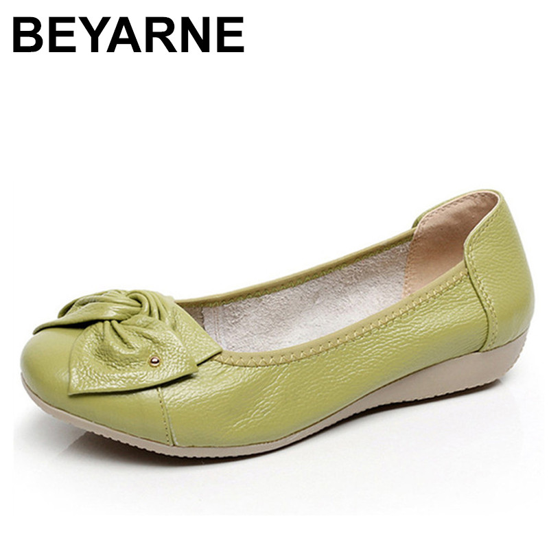 BEYARNE   Genuine Leather Shoes Women Butterfly-knot Loafers Women Flats Ballet Autumn Winter Casual Flat Shoes Woman Moccasins