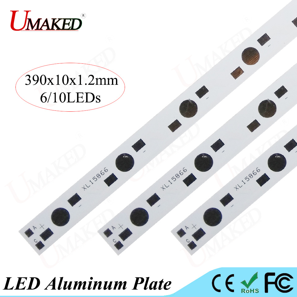 390x10MM lamp plate 6/10leds LED aluminum plate 1W 3W 5W high Power Doide install LED PCB Board For Aquarium tube Grow light DIY 5 x aluminum pcb circuit board diy 100mm dia for 9 x 1w 3w rgb led in parallel