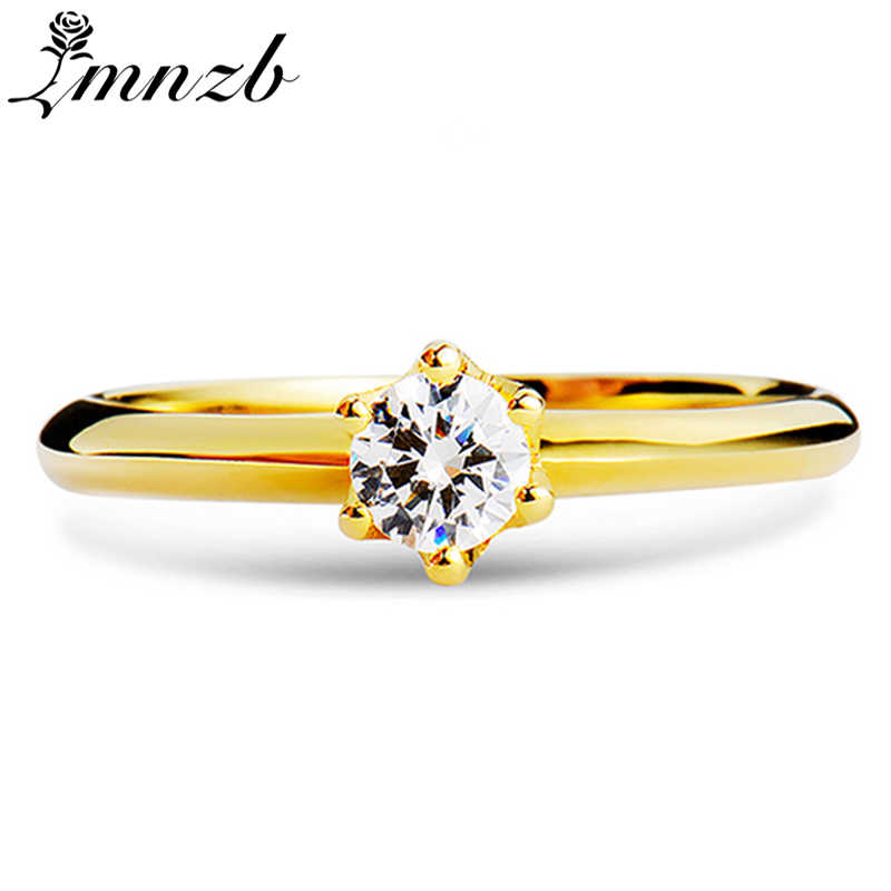LMNZB Original 100% 925 Sterling Silver Rings Gold Color Cubic Zirconia Diamant Band Engagement Rings Jewelry For Women LJR040