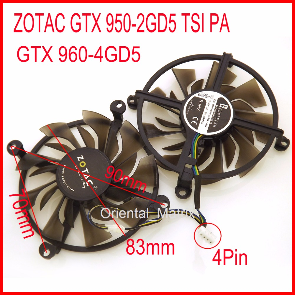 Free Shipping 2pcs/lot Cooler <font><b>Fan</b></font> 12V 83mm 4Pin For <font><b>ZOTAC</b></font> <font><b>GTX</b></font> 950-2GD5 TSI PA <font><b>GTX</b></font> <font><b>960</b></font>-4GD5 HB Graphics Card Cooling <font><b>Fan</b></font> image