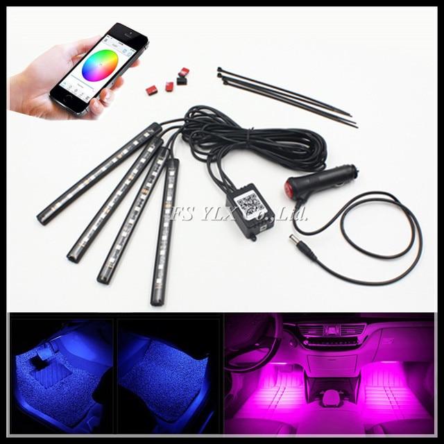 FSYLX Smartphone contrôle RGBW LED intérieur pieds lumières bandes RGB LED atmosphère intérieur bandes lumineuses pour AUDI A3 A4 A6 Q3