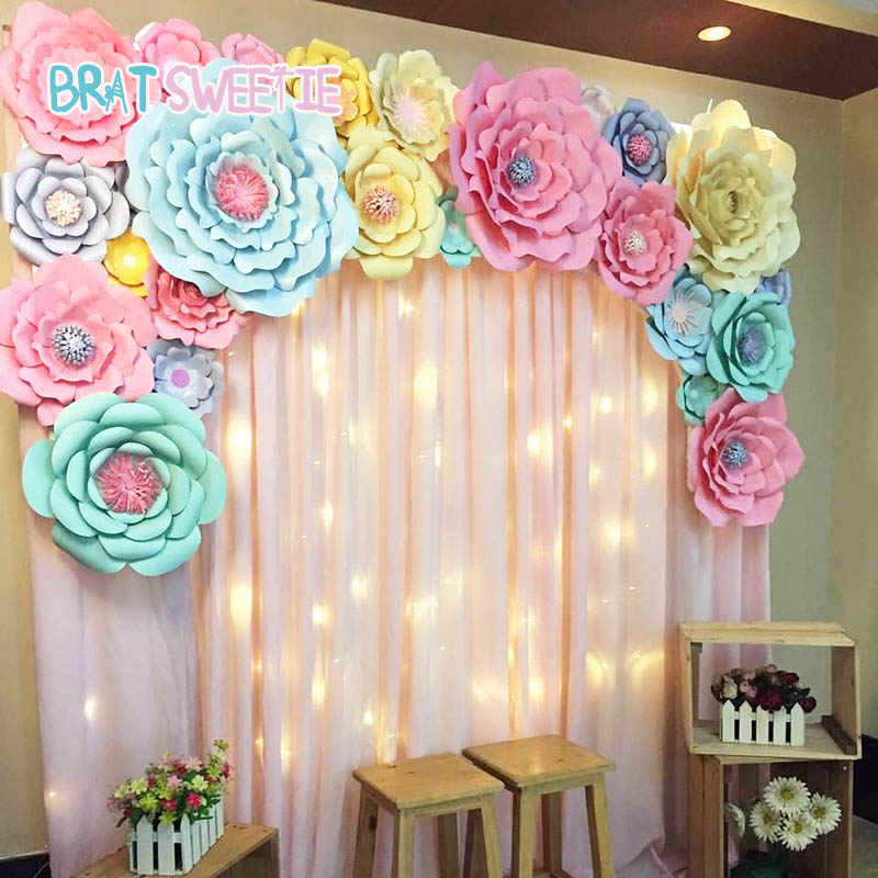 Detail Feedback Questions About Artificial Flowers Paper Pom Poms Fake Flower DIY Baby Shower 1st Birthday Party Wedding Decoration Backdrop Tools Wall