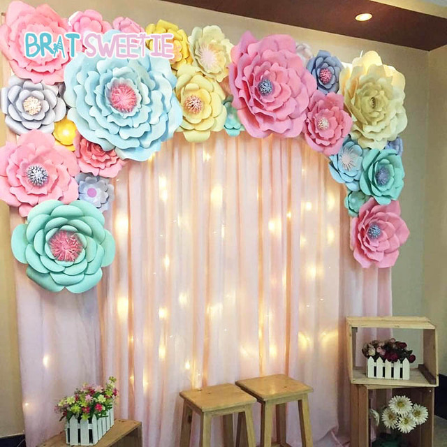 Artificial Flowers Paper Pom Poms Fake Flower Diy Baby Shower 1st
