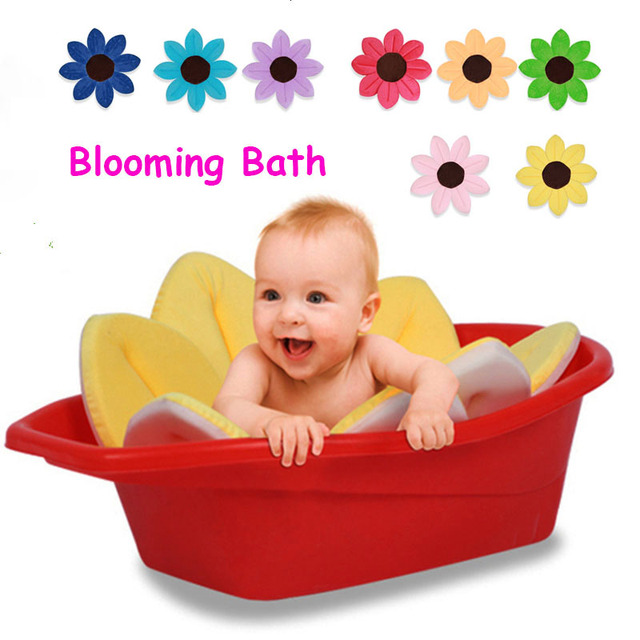 Florescendo Banho Tapete de Banho Do Bebê Dobrável Banheira Pia Chuveiro Assento Macio Forro Infantil Bebês Flor Jogo Banho Almofada Girassol Lótus