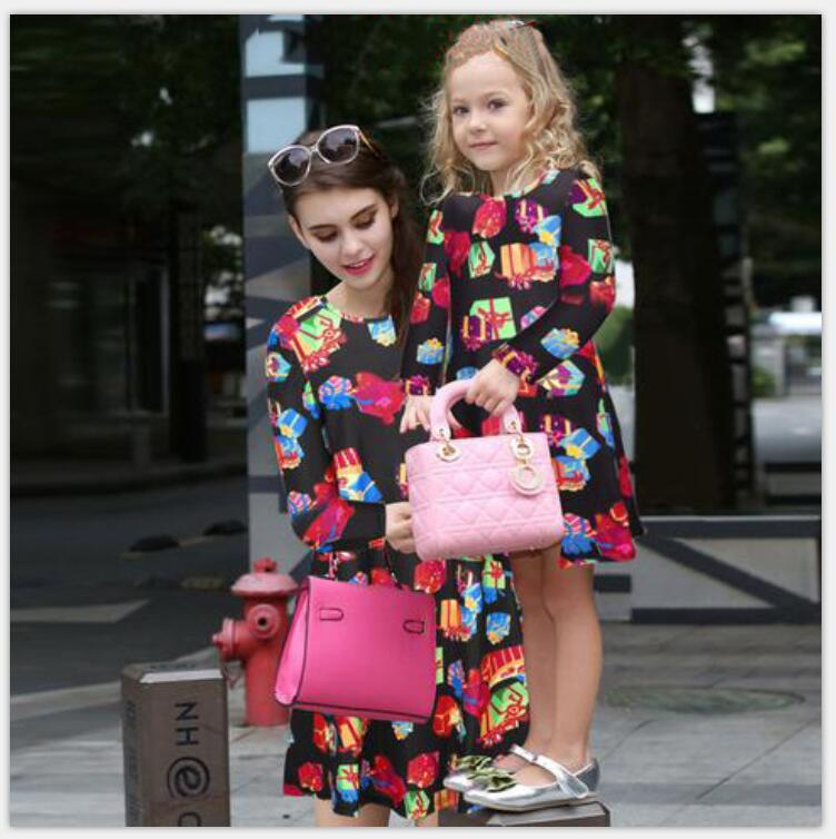 Christmas Print dress Family Matching Outfits Mother Daughter Dresses Autumn Long Sleeve Family look 2019 mother & kids