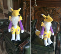 Anime Game Digital Monster Digimon Doll Yellow Tamers Renamon Magic Fox Cosplay Plush Stuffed Doll Mascot Cute Cartoon Toy Gifts