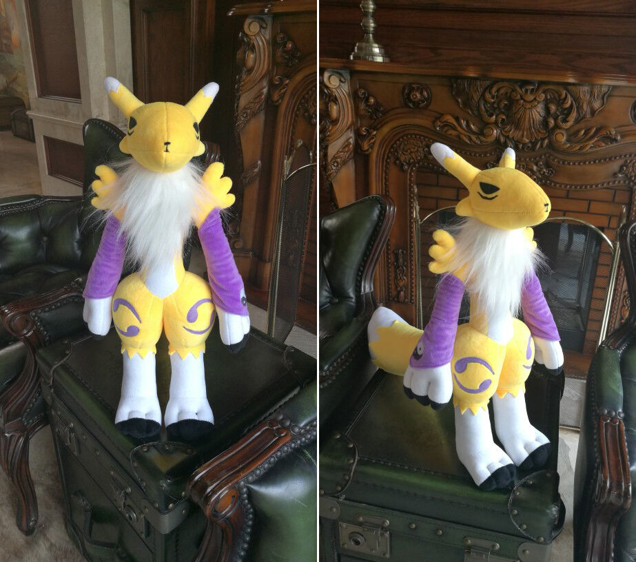 Anime Game Digital Monster Digimon Doll Yellow Tamers Renamon Magic Fox Cosplay Plush Stuffed Doll Mascot Cute Cartoon Toy Gifts image