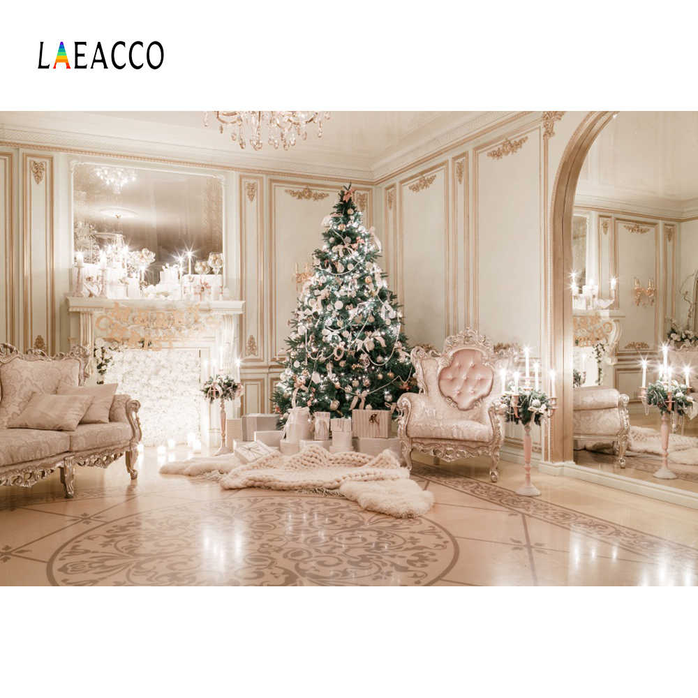Laeacco Christmas Tree Fireplace Armchair Interior Portrait Scene Photography Background Photographic Backdrops For Photo Studio
