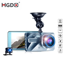лучшая цена HGDO 4 inch Dash cam Full HD 1080P Car dvr camera Dual Lens Night vision Recorder 2.5D mirror Video  Registrator Camcorder DVRS
