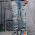 Ripped Denim Mens Pants 2017 New Fashion Letter Printed Straight Cool Pants Men Full Length Man Trousers Black Blue