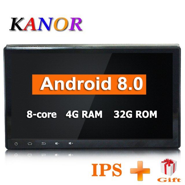 KANOR Android 8.0 Octa Core IPS 4+32G 10.1 inch Double 2 din Car GPS DVD Player Bluetooth Stereo Sat Nav RDS WIFI Multimedia