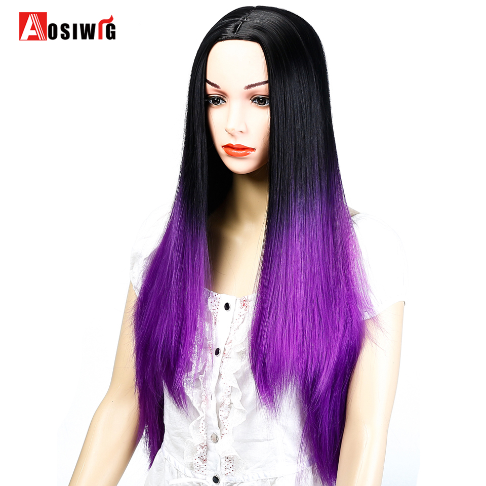 AOSIWIG Ombre Black Purple Long Straight Wigs Syntetisk Hår - Syntetiskt hår