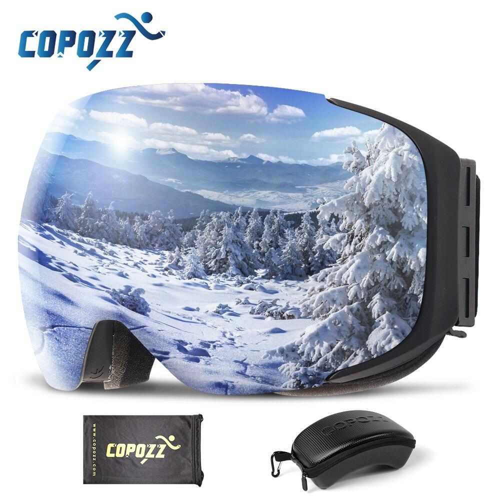 COPOZZ marque magnétique lunettes de Ski avec étui Double lentille Anti-buée Ski neige lunettes UV400 Ski hommes femmes hiver Snowboard 2181