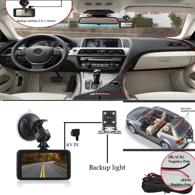 2018 Auto Dual Lens 3 Inch Dash Cam Car DVR 1080P Video Recorder Registrator with Backup Rearview Camera Cam Corder Display 5