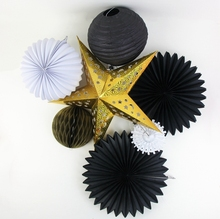 7pc Gold Black White Pleated Lantern Paper Fans Pom Poms Decoration Set Crafts Wedding Birthday Festive Decor