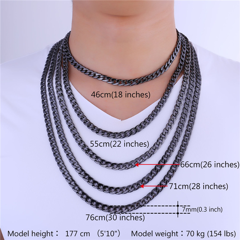 silver plated with men mens real free tone shipping two wholesale necklaces curb item color in collare platinum chain link stamp necklace gold cuban jewelry from