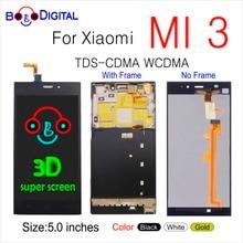 PANTALLA TÁCTIL PARA XIAOMI Mi3 MI 3, repuesto de pantalla LCD Original de 5,0 pulgadas con marco TDS CDMA WCDMA