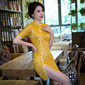 New Summer Cheongsam Chinese Traditional Dress Vestido Short Sleeve Yellow Lace Openwork Qipao Unique Chinese Style Dress