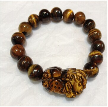 Gold Tiger S Eye Pixiu Bracelets Evil Eye Jade Stones Good Lucky Pi