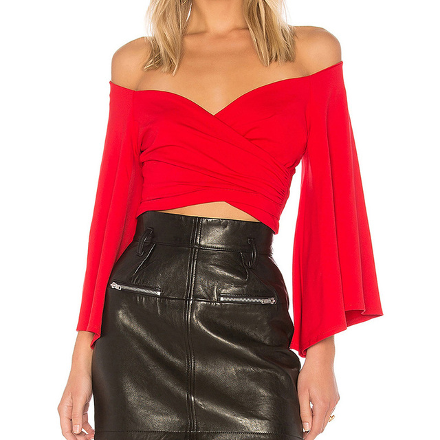 3cb9b57d408f Women Sexy Deep V Neck Red White Cross Long Flare Sleeve Lady Girl Crop Tops  Off