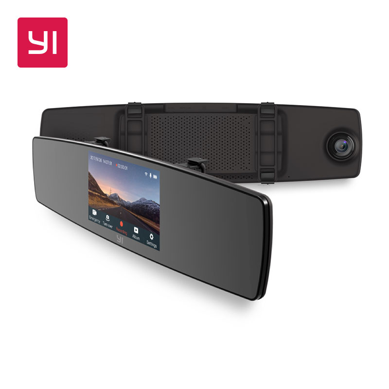 YI espejo Dash Cam Dual Dashboard Camera Recorder pantalla táctil visión trasera HD G Sensor de visión nocturna Estacionamiento monitor